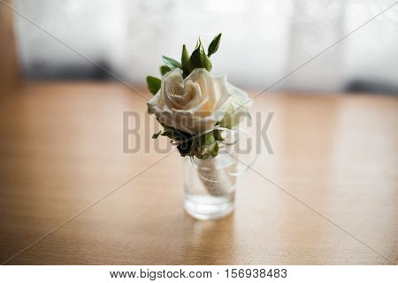 wedding boutonniere of white roses wedding accessories
