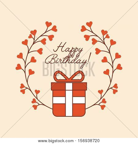 happy birthday card with colorful wreath flowers and gift box. vector illustration