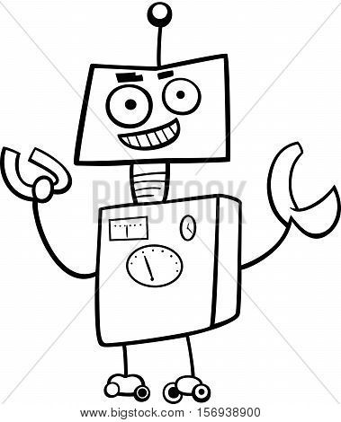 Robot Cartoon Character Coloring Book