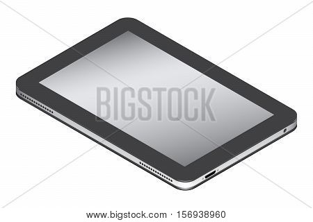 Realistic tablet in isometry isolated on a white background. Vector illustration.