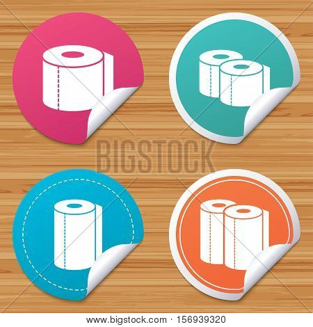 Round stickers or website banners. Toilet paper icons. Kitchen roll towel symbols. WC paper signs. Circle badges with bended corner. Vector