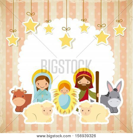 holy family manger scene with animals and decorative stars hanging. merry christmas colorful design. vector illustration