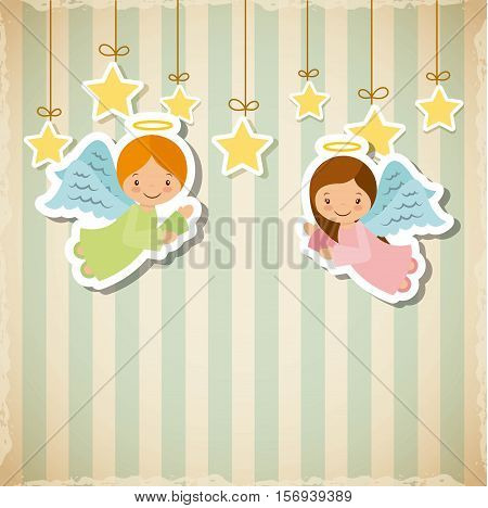 cartoon cute angels with decorative stars hanging. card of merry christmas design. vector illustration