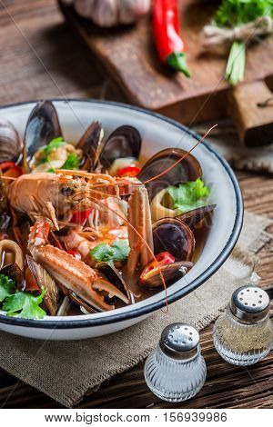 Tasty Seafood Soup With Langoustines And Mussels