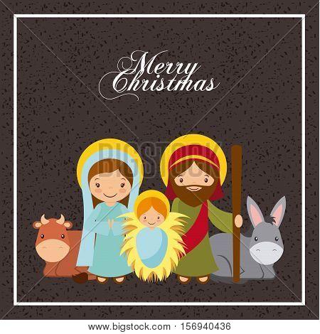 holy family manger scene. merry christmas colorful design. vector illustration