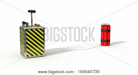 dynamite pack and detenator. isolated on white. 3d illustration.