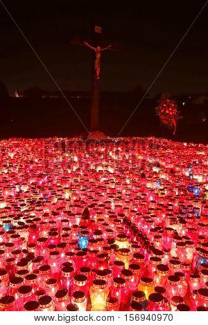 Burning Lampions Illuminating Cemetery