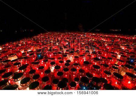 Burning Lampions In Dark