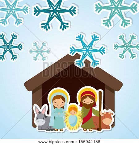 holy family manger scene over winter background with snowflakes icon. merry christmas colorful design. vector illustration