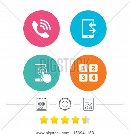 Phone icons. Touch screen smartphone sign. Call center support symbol. Cellphone keyboard symbol. Incoming and outcoming calls. Calendar, cogwheel and report linear icons. Star vote ranking. Vector