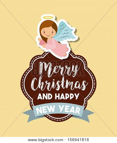cartoon cute angels. card of merry christmas and happy new year design. vector illustration