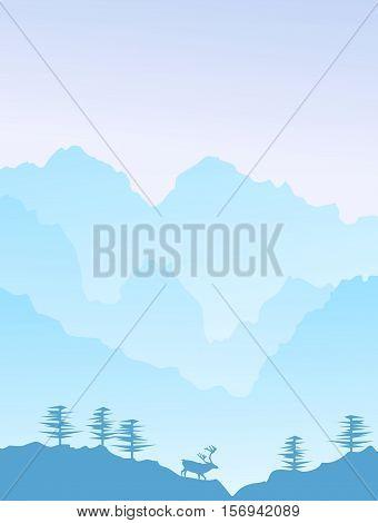Misty mountain scene, with a majestic elk