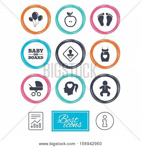Pregnancy, maternity and baby care icons. Air balloon, baby carriage and pacifier signs. Footprint, apple and newborn symbols. Report document, information icons. Vector