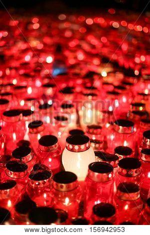 Lampions Burning At Night