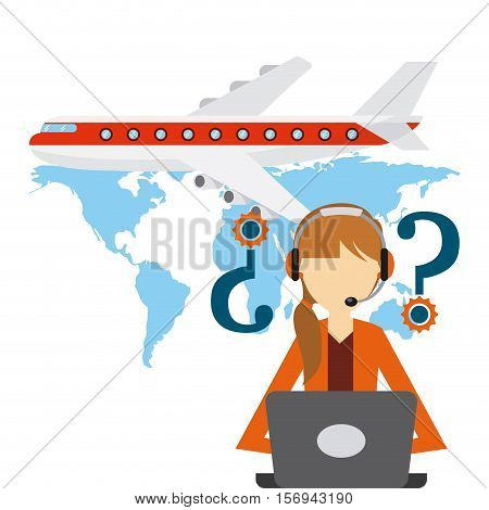 airplane vehicle and logistic support worker over blue worker. export and import colorful design. vector illustration