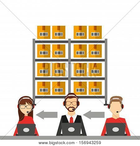 logistics support workers working and shelvec with carton boxes. export and import colorful design. vector illustration