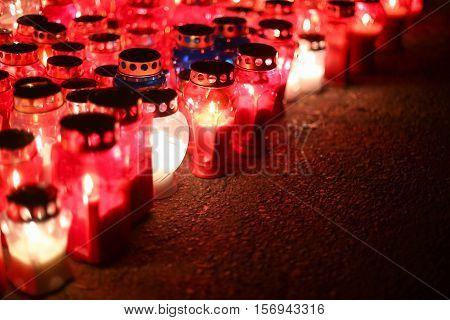 Lampions Burning On Floor