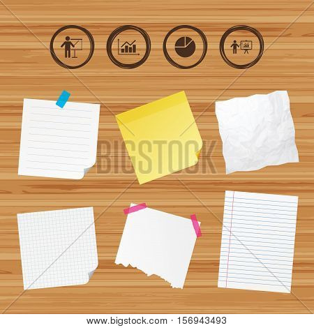 Business paper banners with notes. Diagram graph Pie chart icon. Presentation billboard symbol. Supply and demand. Man standing with pointer. Sticky colorful tape. Vector