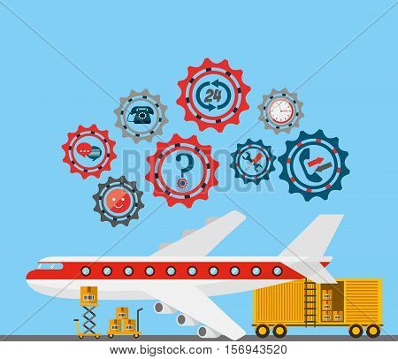 airplane vehicle with gears wheels around. export and import colorful design. vector illustration
