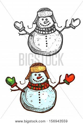 Snowman vector sketch. Vector isolated icon of Christmas snowman with mittens winter hat and scarf. New Year holiday symbol