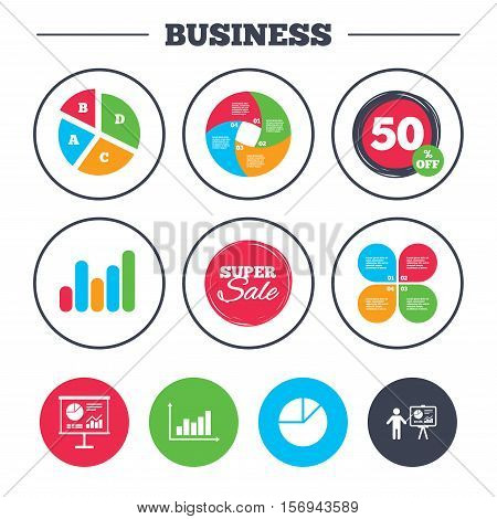 Business pie chart. Growth graph. Diagram graph Pie chart icon. Presentation billboard symbol. Supply and demand. Man standing with pointer. Super sale and discount buttons. Vector