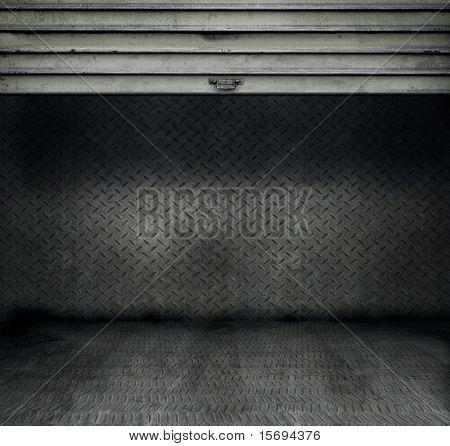 Metal threadplate room with stainless steel door rolled up