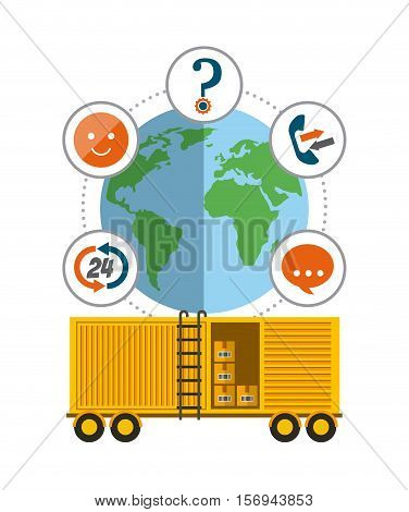 yellow cargo container and earth planet icon. export and import colorful design. vector illustration