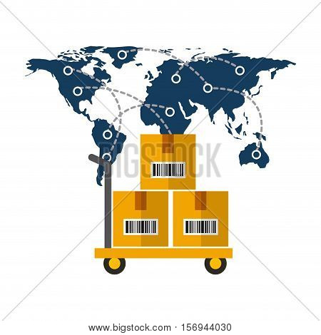 world map and handcart with carton boxes over white background .export and import colorful design. vector illustration