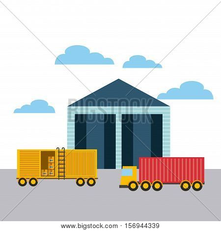 warehouse and yellow container and cargo truck. export and import colorful design. vector illustration