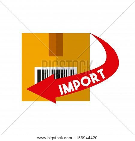carton box with red arrow with import word. export and import colorful design. vector illustration