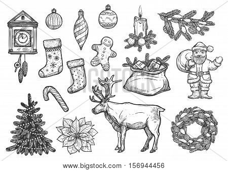 Christmas, New Year symbols, ornaments. Vector isolated sketch Santa with gifts bag, stockings, gingerbread man, bauble ball, cone, decorated Christmas tree, cuckoo clock, poinsettia star flower, reindeer, pine wreath, candle on fir bow, candy cane