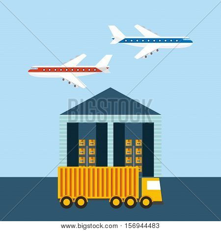 ware house with cargo truck and airplanes in the sky. export and import colorful design. vector illustration