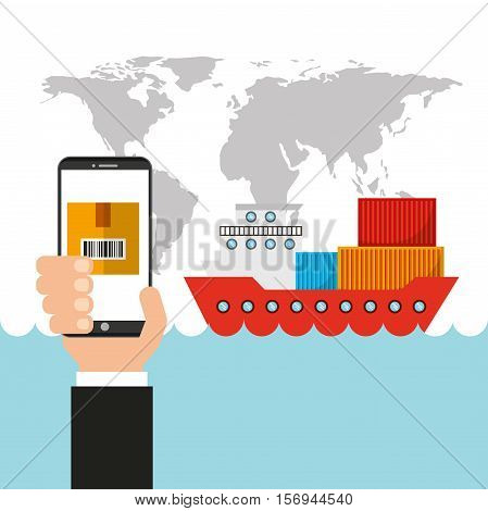world map with cargo ship and human hand holding a smartphone .export and import colorful design. vector illustration