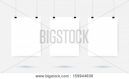 Poster binder clip. Blank white pages hanging against grey background. Vector illustration.