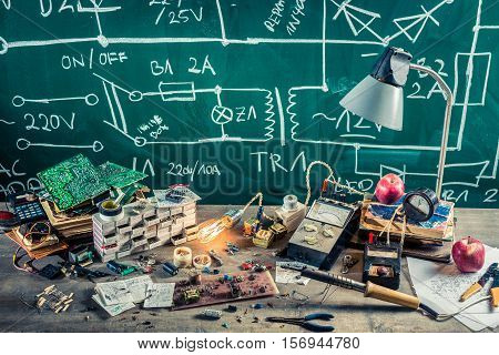 Electronics Components In School Lab On Old Wooden Table On Old Wooden Table