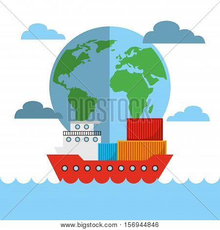wolrd sphere and cargo ships with containers. export and import colorful design. vector illustration
