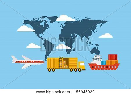 world map with cargo vehicles  over blue background. export and import colorful design. vector illustration