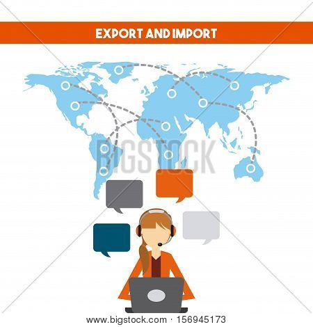 world map with logistics support worker. export and import colorful design. vector illustration