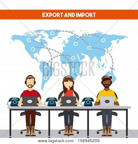 world map with logistic support workers working. export and import colorful design. vector illustration