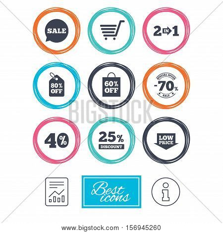 Sale discounts icon. Shopping cart, coupon and low price signs. 25, 40 and 60 percent off. Special offer symbols. Report document, information icons. Vector