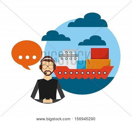 cargo ship and logistic support worker. export and import colorful design. vector illustration