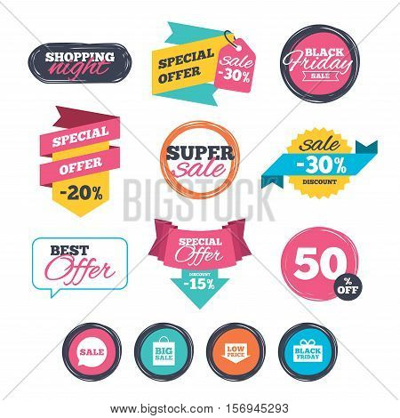 Sale stickers, online shopping. Sale speech bubble icon. Black friday gift box symbol. Big sale shopping bag. Low price arrow sign. Website badges. Black friday. Vector