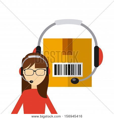 logistics support worker and carton box with headset icon. export and import colorful design. vector illustration