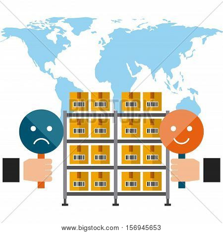 world map with shelves with carton boxes .export and import colorful design. vector illustration