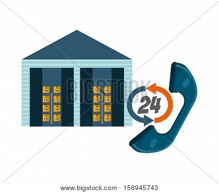 warehouse with carton boxes and handset icon. export and import colorful design. vector illustration