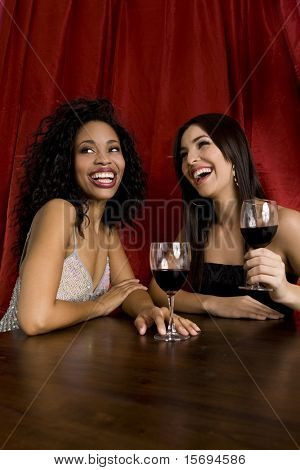 Two attractive friends drinking wine