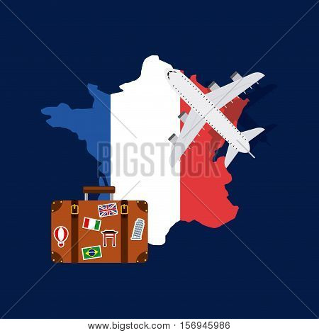 france flag in country shape with airplane and suitcase icons over blue background. colorful design. vector illustration