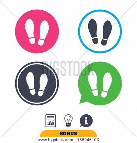 Imprint soles shoes sign icon. Shoe print symbol. Report document, information sign and light bulb icons. Vector