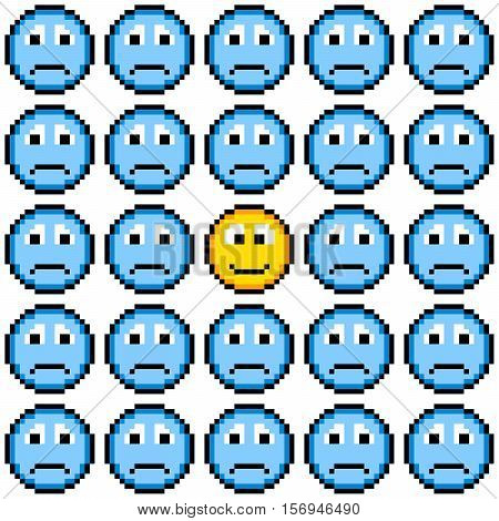 Blue pixel sad faces and one happy face