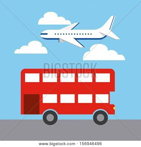airplane flying in the sky and red iconic bus of london city. colorful design. vector illustration